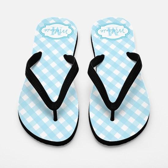 Blue Gingham Monogram Flip Flops