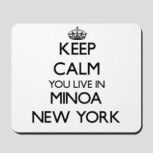 Keep calm you live in Minoa New York Mousepad