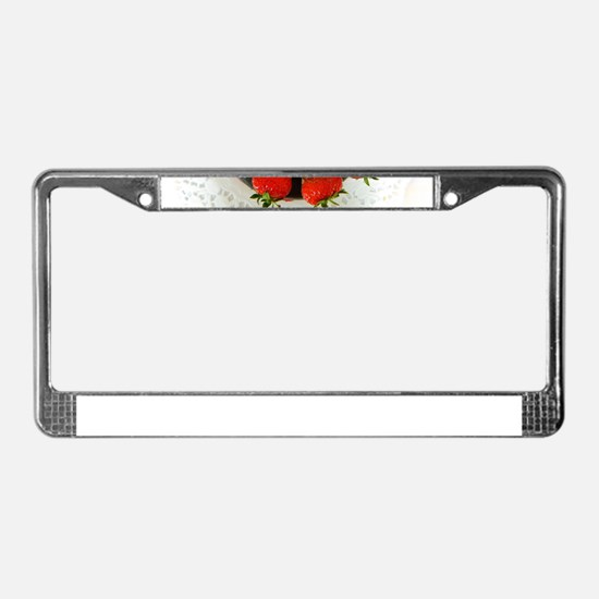 chocolate covered strawberries License Plate Frame