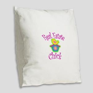 Real Estate Chick Burlap Throw Pillow