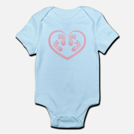 Baby Girl Twins Footprints Body Suit