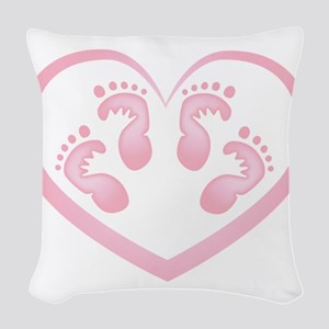 Baby Girl Twins Footprints Woven Throw Pillow
