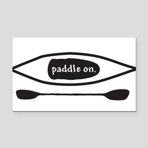 Paddle on Kayak Rectangle Car Magnet