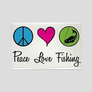 Peace Love Fishing Rectangle Magnet