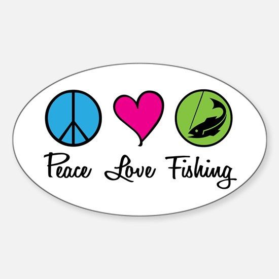Peace Love Fishing Oval Decal