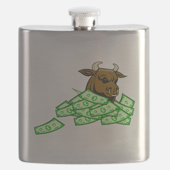 Bull With Money Flask