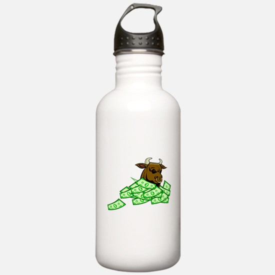 Bull With Money Water Bottle