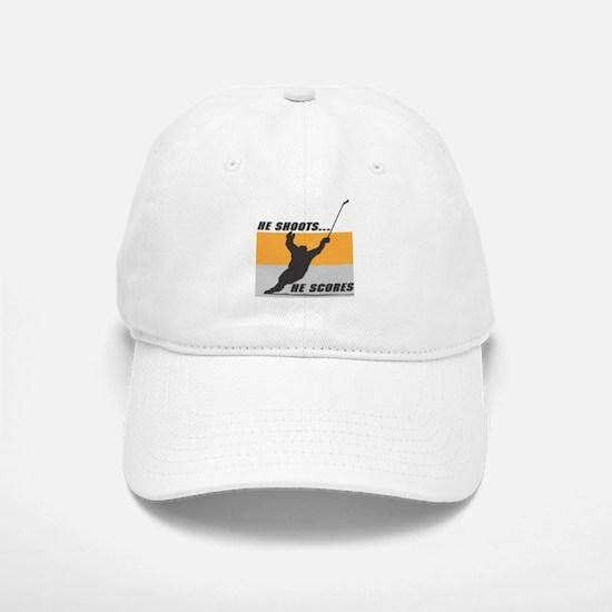 He Shoots...He Scores! Baseball Baseball Cap