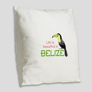 TOUCAN LIFE IN BELIZE Burlap Throw Pillow
