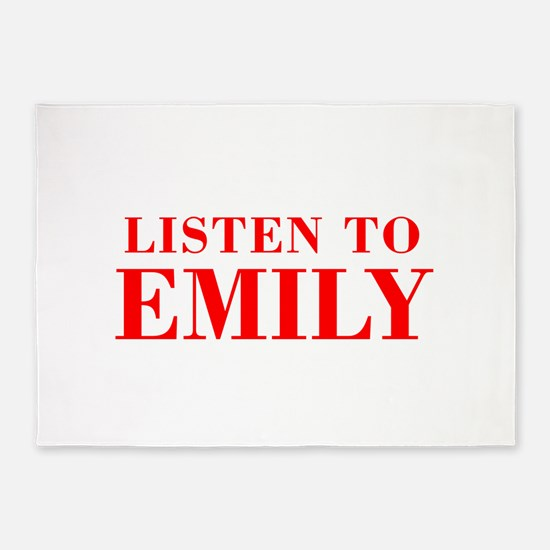 LISTEN TO EMILY-Bod red 300 5'x7'Area Rug