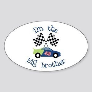 big brother race car Oval Sticker