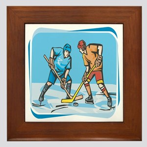 Hockey Players On Ice Framed Tile