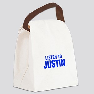 LISTEN TO JUSTIN-Hel blue 400 Canvas Lunch Bag