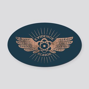 Winged Atom Oval Car Magnet