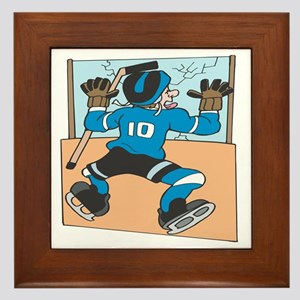 Hockey Player Meets The Wall Framed Tile