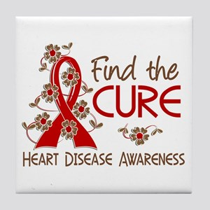Heart Disease Find the Cure 3 Tile Coaster