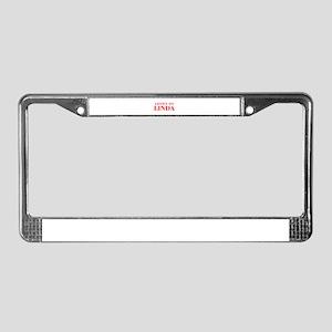 LISTEN TO LINDA-Bod red 300 License Plate Frame