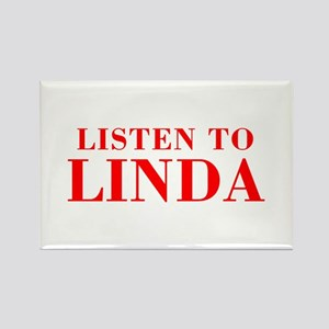 LISTEN TO LINDA-Bod red 300 Magnets