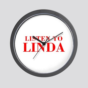 LISTEN TO LINDA-Bod red 300 Wall Clock