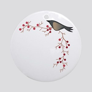 CROW AND BERRY BORDER Ornament (Round)