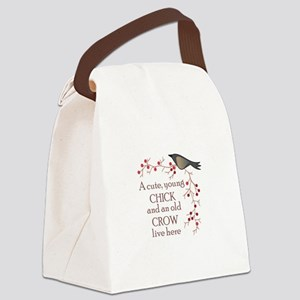 CUTE CHICK & OLD CROW Canvas Lunch Bag