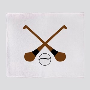 HURLING BATS AND BALL Throw Blanket