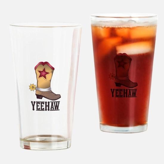 COWBOY BOOT YEEHAW Drinking Glass