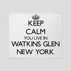 Keep calm you live in Watkins Glen N Throw Blanket