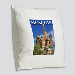 Moscow Kremlin Saint Basil's C Burlap Throw Pillow