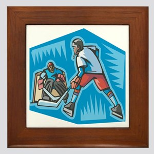 Hockey Player & Goalie Framed Tile