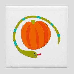 SNAKE AND PUMPKIN Tile Coaster