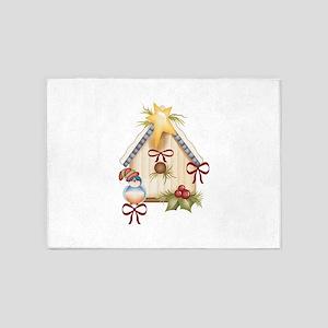 CHRISTMAS BLUEBIRD 5'x7'Area Rug