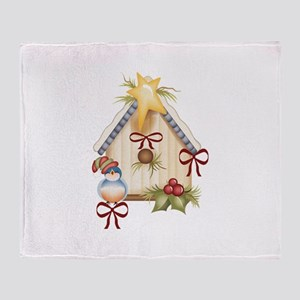 CHRISTMAS BLUEBIRD Throw Blanket