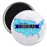 """100 2.25"""" Magnets True Blue United States LIBERAL"""