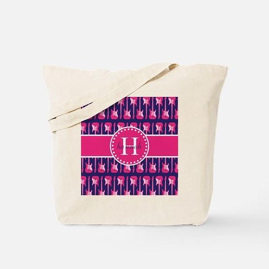 Monogrammed Hot Pink and Navy Guitar Patt Tote Bag