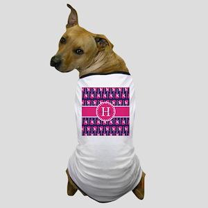 Monogrammed Hot Pink and Navy Guitar P Dog T-Shirt