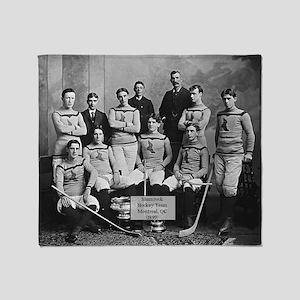 Vintage Montreal Hockey Team Photo Throw Blanket