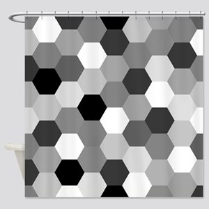 Monochrome Hexagons Shower Curtain