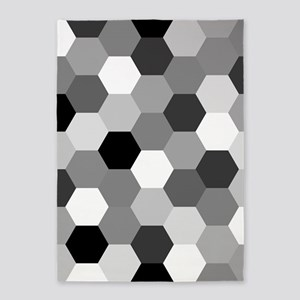 Monochrome Hexagons 5'x7'area Rug