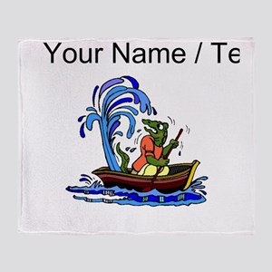 Custom Dinosaur On Leaky Boat Throw Blanket