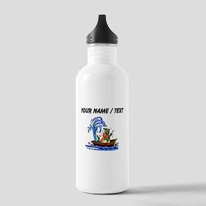 Custom Dinosaur On Leaky Boat Water Bottle