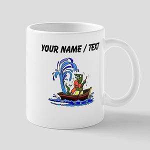 Custom Dinosaur On Leaky Boat Mugs