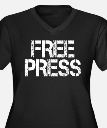 Free Press Women's Plus Size V-Neck Dark T-Shirt