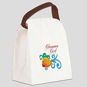 GLAMMA GIRL FISH Canvas Lunch Bag
