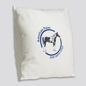 AMERICAN PAINT HORSE Burlap Throw Pillow