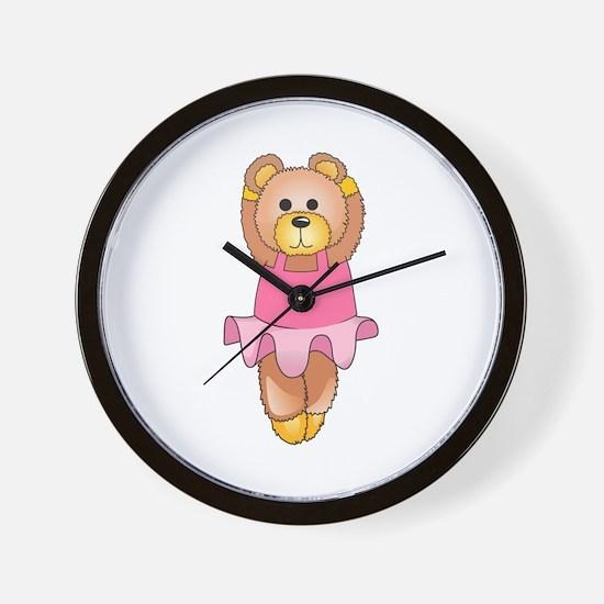 TEDDY BEAR BALLERINA Wall Clock