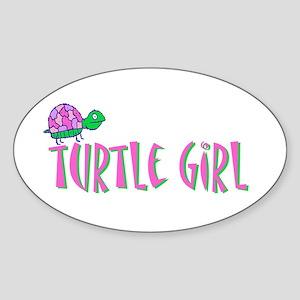 Turtle Girl Oval Sticker