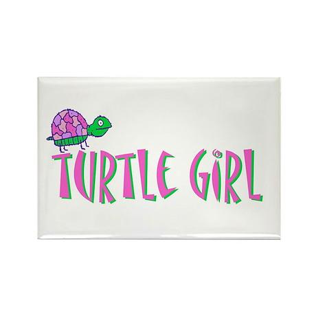 Turtle Girl Rectangle Magnet