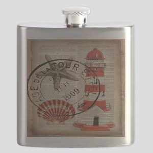 vintage lighthouse sea shells Flask