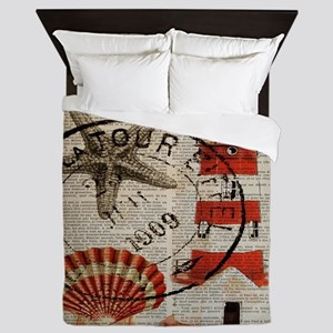 vintage lighthouse sea shells Queen Duvet